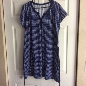Midi blue &white striped dress with buttons